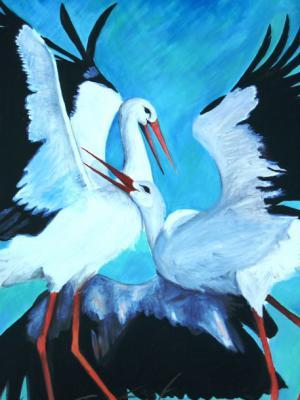 Storchenliebe - Ölbild - 2005